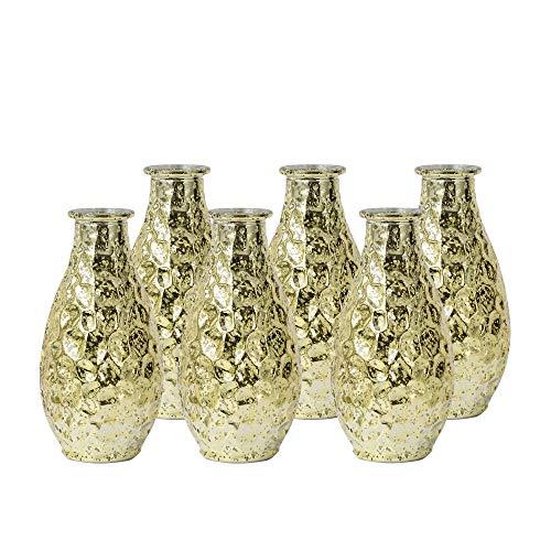 WH Housewares Pebble Grain Mercury Glass Bud Vase,Decorative Bottles 5.6 inch High Set of 6(Gold) (Bud Vase Glass Yellow)