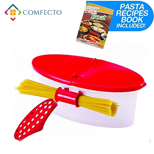 Pasta Boat - Microwave Pasta Cooker with Strainer, Food Grade Heat Resistant Pasta Boat Vegetable Steamer Spaghetti Noodle Cooker with Capacity Up to 5 Pound, No Mess, Sticking, or Waiting for Water to Boil