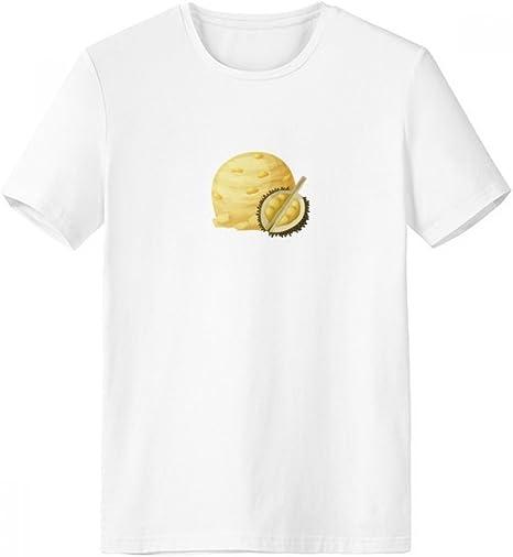 DIYthinker Amarilla Durian Helados Paletas De Bolas con Cuello Redondo De La Camiseta Blanca De Manga Corta De La Comodidad Camisetas Deportivas Regalo - Multi - XL: Amazon.es: Deportes y aire libre