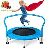 Merax 36″ Kid's Mini Exercise Trampoline Portable Trampoline with Handrail and Padded Cover For Sale