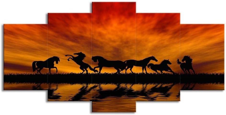 Swlyddm Impresión en Lienzo 5 Piezas de Cuadros de Pintura - Silueta del Caballo al Atardecer - Arte de la Pared del Lienzo Murales Modernos Decoración de la Sala de Estar Listo para Colgar