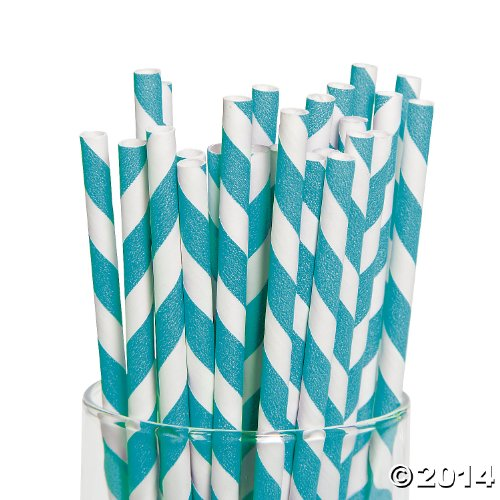 Turquoise Paper Striped Straws Pack