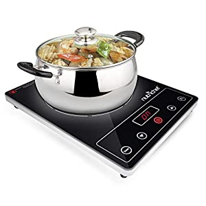 NutriChef Countertop Burner, Infrared Cooktop, Ceramic Cookware, Electric Stovetop, Black Tempered Glass, LCD Display, Keep Warm, 1200W, 120V (PKST16)