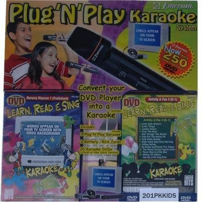 Emerson Plug and Play Karaoke System, Learn, Read and Sing Children's, over 250 dvds ()