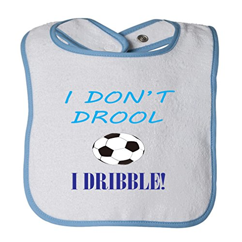 I Don'T Drool I Dribble! Soccer Cotton Terry Unisex Baby Terry Bib Contrast Trim - White Blue, One Size