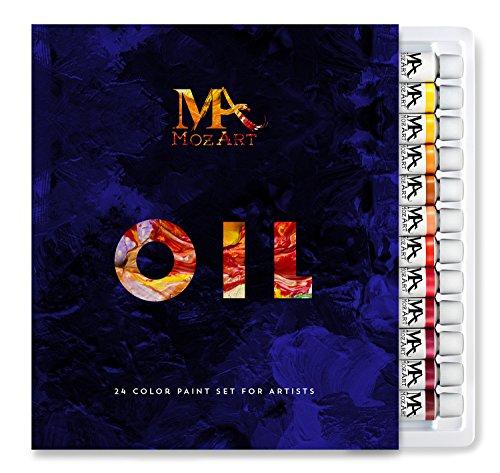 MozArt Supplies Oil Paint Set - 24 Paint Colors 12ml Tubes - Artist Grade Paints for Professionals, Beginners, and Students - Ideal for Home Wall Art, Murals, Canvas, Landscape, Portrait Paintings