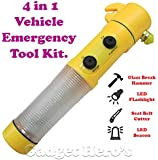 Gadget Hero's 4in1 Vehicle Emergency Multi Function Survival Tool Kit with Magnetic Base, Glass Hammer, Falshing LED Torch, Seatbelt Cutter