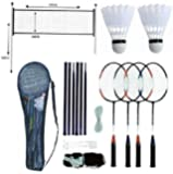 PROFESSIONAL BADMINTON SET 4 PLAYER RACKET SHUTTLECOCK POLES NET BAG GAME 589751