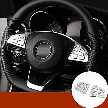 HOTRIMWORLD Carbon Fiber Interior Steering Wheel Button Trim Cover 2pcs for Mercedes-Benz C Class W204 S204 2007-2010