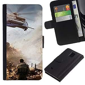 KingStore / Leather Etui en cuir / Samsung Galaxy Note 4 IV / La acción militar