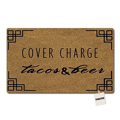 SGBASED Door Mat Funny Doormat Cover Charge Tacos & Beer Mat Washable Floor Entrance Outdoor & Indoor Rug Doormat Non-Woven Fabric (23.6 X 15.7 inches)