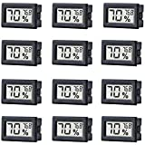 TAIWEI 12 Pack Mini Small Digital Electronic Temperature Humidity Meters Gauge Indoor Thermometer Hygrometer LCD Display Fahrenheit (℉) for Humidors, Greenhouse, Garden, Cellar