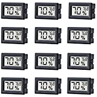 TAIWEI 12 Pack Mini Small Digital Electronic Temperature Humidity Meters Gauge Indoor Thermometer Hygrometer LCD Display…
