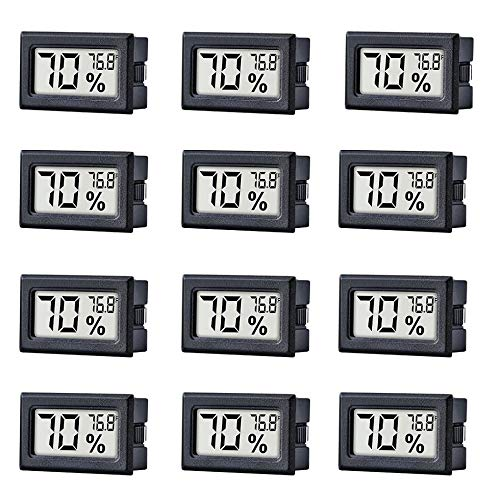 TAIWEI 12 Pack Mini Small Digital Electronic Temperature Humidity Meters Gauge Indoor Thermometer Hygrometer LCD Display Fahrenheit (℉) for Humidors, Greenhouse, Garden, Cellar ()