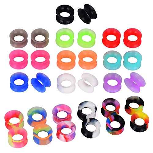 D&M Jewelry 16 Pairs Silicone Ear Gauge 0g Hollow Soft, used for sale  Delivered anywhere in USA