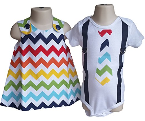Boy Girl Twin Outfits Charlotte and Chevron by Perfect Pairz USA Made