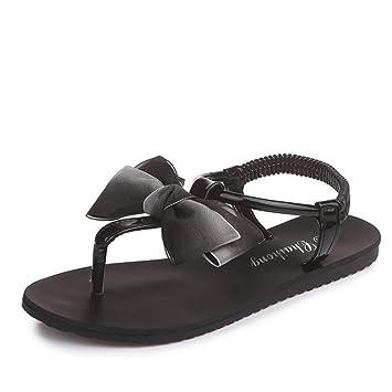 Ladies Women's faux patent leather Flat Sandals bowknot Slipper Casual Shoes