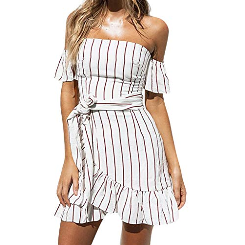 PASATO 2019 New!Women Ruffle Sling Dress Plus Size Striped Slash Neck Bandage Short Sleeve Loose Casual Mini Dress(White,L=US:M)