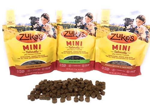 Zuke's Mini Natural Soft Dog Treat Three Pack (Duck, Chicken, Peanut Butter & Oats)