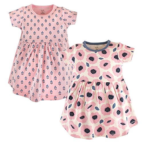 Touched by Nature Baby Girls' Organic Cotton Dress, Blossoms Short Sleeve 2-Pack 9-12 Months -