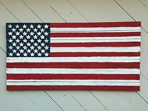 Amazon.com: 12 x 27 inch Rustic Barn wood American Flag ...