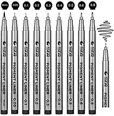 1//8X Art Marker Brush Pen Different Tip Pigment Liner Water Based Sketch Drawing