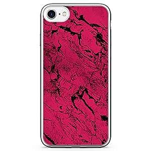 iPhone 7 Transparent Edge Phone Case Dark Pink Marble Phone Case Dark Marble iPhone 7 Cover with Transparent Frame