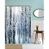 """A.Monamour Cold Winter Season White Snowy Forest Trees Hoarfrost Nature Landscape Scenery Graphic Print Waterproof Shower Curtain for Bathroom 180x200 cm / 72"""" x78"""""""
