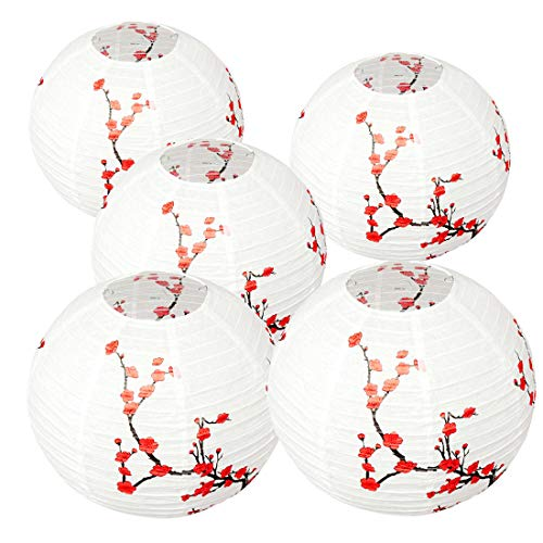 Smeiker Set of 5 Red Sakura (Cherry) Flowers White Color Chinese/Japanese Paper Lantern/Lamp 12
