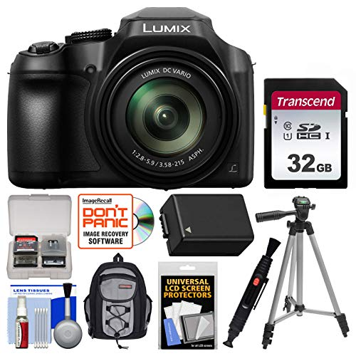 - Panasonic Lumix DC-FZ80 4K Wi-Fi Digital Camera with 32GB Card + Backpack + Battery + Tripod + Kit
