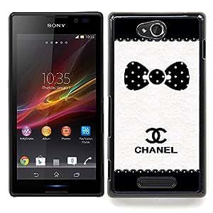 /Skull Market/ - Polka Dot Brand White Black Pattern For Sony Xperia C S39h C2305 - Mano cubierta de la caja pintada de encargo de lujo -