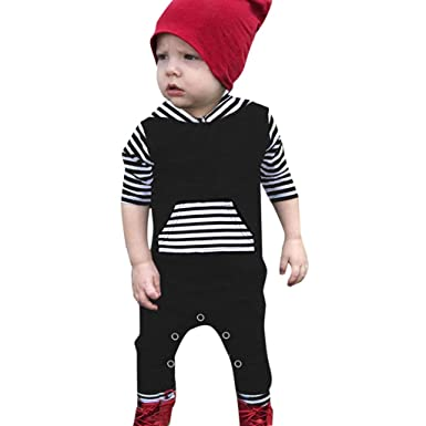 eb04051e11a3 SiQing Baby Cute Long-sleevedStriped Hooded Robes Printed Pocket Trousers  Jumpsuit Romper (3-
