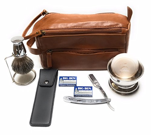 Price comparison product image 7 Piece Men's Shaving Gift Set - Comes With Cognac Travel Toiletry Bag - Barber Shavette, Pure Badger Chrome Brush, Bowl, Leather Case, GBS Shave Soap, Stand + Blades