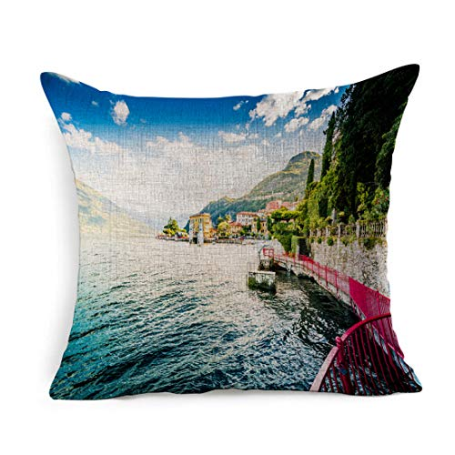 Ahawoso Linen Throw Pillow Cover Square 18x18 Blue Architecture Lake Como Varenna Italy People On Alps Lugano Di Parks Colorful Balbianello Bay Bellagio Boat Pillowcase Home Decor Cushion Pillow Case (Cushions Bellagio)