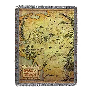 """The Hobbit,""""Middle Earth"""" Woven Tapestry Throw Blanket, 48"""" x 60"""""""