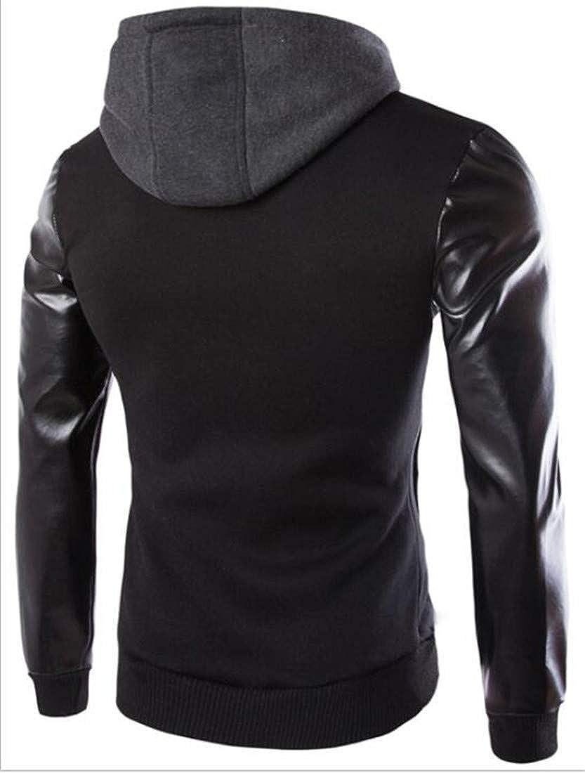 Cromoncent Mens Jacket Zipper Hoodie Casual Faux Leather Spliced Coat Sweatshirts