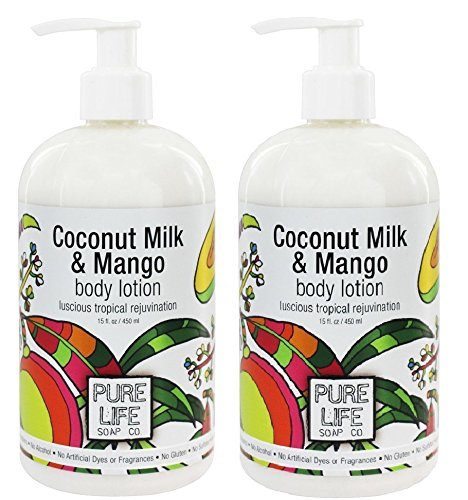Mango Lotion Body Coconut - Pure Life Soap Co Coconut Milk and Mango Body Lotion (Pack of 2) With Vitamin E, Grapefruit Seed Extract and Aloe Pulp, 15 fl oz Each