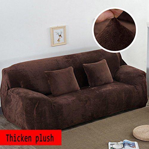 (YQ WHJB Anti-Slip Elastic slipcover,Plush Solid Color Sofa Cover,Winter Thicker Surefit Stretch Furniture Protector for 1 2 3 4 Cushions Sofa Leather Sofa Stain-Resistant Couch Covers-Brown Sofa)