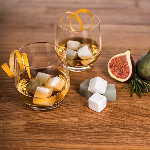 Blumtal Whisky Steine, Whiskey Kühlwürfel - 12er-Set Whiskeysteine, Geschenkset Männer, Eiswürfel Ersatz