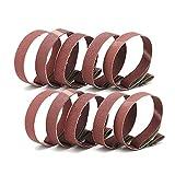 1 Inch x 30 Inch Sanding Belts, 60/80/120/180/240/320/400/600/800/1000 Grits, Belt Sander Tool for Woodworking, Metal Polishing, 10 Pack Aluminum Oxide Sanding Belt