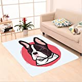 Nalahome Custom carpet imal Cute French Bulldog Portrait Hipster Purebred Creature Pet Illustration Baby Blue Red Brown area rugs for Living Dining Room Bedroom Hallway Office Carpet (6' X 9')