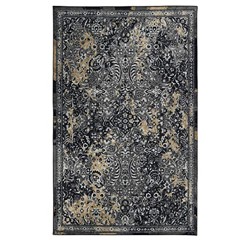 Mohawk Home Z0136 A248 096120 EC Prismatic Garden City Charcoal Boho Distressed Abstract Precision Printed Area Rug, 8'x10', Gray and Tan