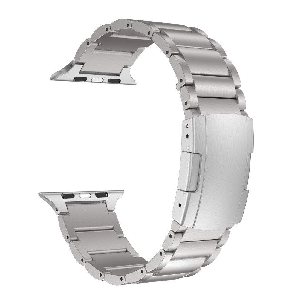 QUICATCH Compatible for Apple Watch Series 4 3 2 1 42mm 44mm Fashion Luxury Alloy Titanium Replacement Watch Band Wrist Strap Bracelet 1PC Silver