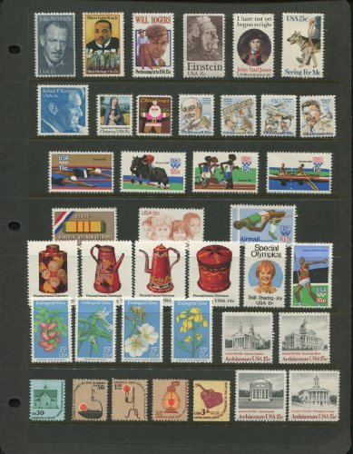 1979 COMPLETE MINT SET OF US POSTAGE STAMPS ISSUED IN 1979 (Total 39 Stamps on black stock sheet)