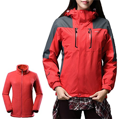 OutdoorMaster Womens' 3-in-1 Ski Jacket - Winter Jacket Set with Fleece Liner Jacket & Hooded Waterproof Shell - for Women (Red,XL) (Womens Hooded Jackets Clearance)