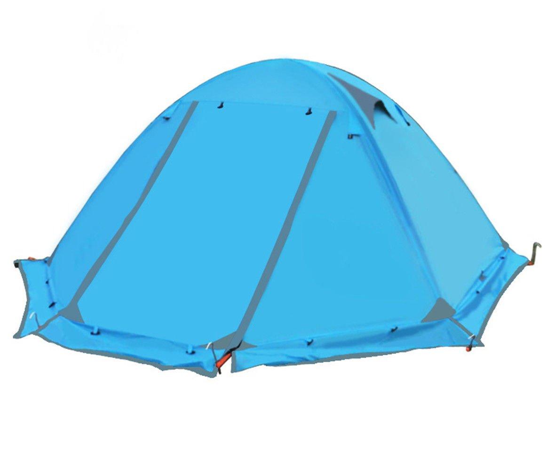 RFVBNM Wasserdichte Zelt Outdoor Zelt Camping Camping Zelt doppelt doppellagige Aluminiumstange Regen-Proof Reise Campingzubehör 210 × (60 + 150 + 60) × 115cm, blau