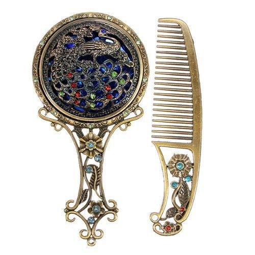 vintage-antiqued-mini-copper-phoenix-mirror-with-comb-set-colorrandom