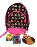 6 pc owl themed back to school Backpack bundle with favor, 24 Pack Crayola Crayons, 3 Mini Journals, Owl Print Backpack, Owl stickers (black)