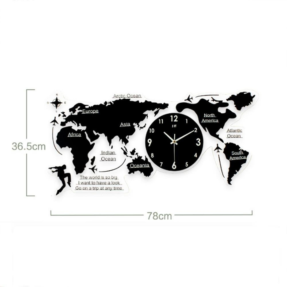 LXZ Diy Pared Reloj Mundo Mapa Acrílico Grande Vivo Habitación Oficina Decoración, 78Cmx36.5Cm (Negro): Amazon.es: Deportes y aire libre
