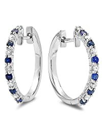 14k White Gold Round Blue Sapphire & White Diamond Ladies Huggies Hoop Earrings
